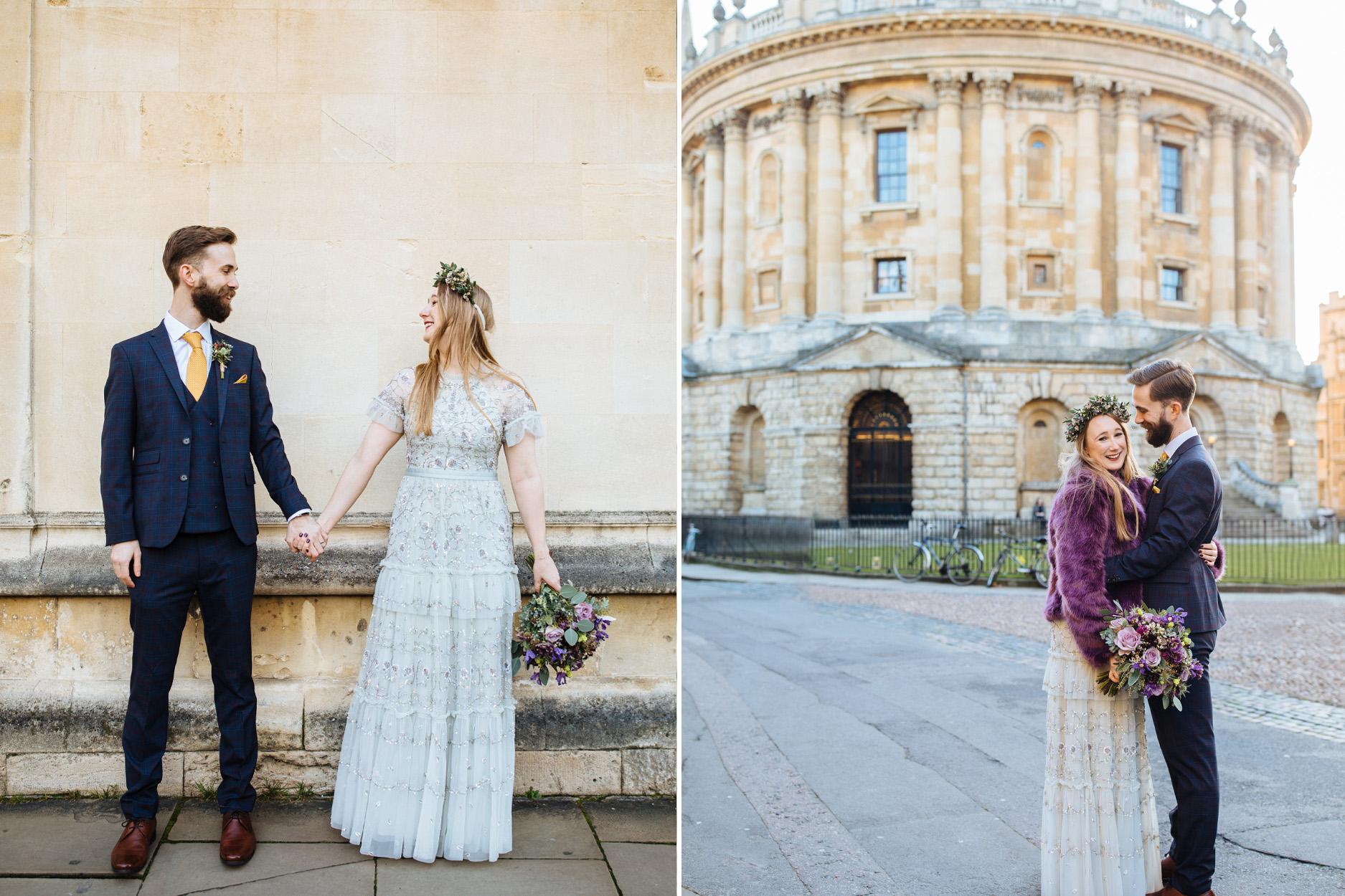 groom and bride in purple coat at Oxford wedding
