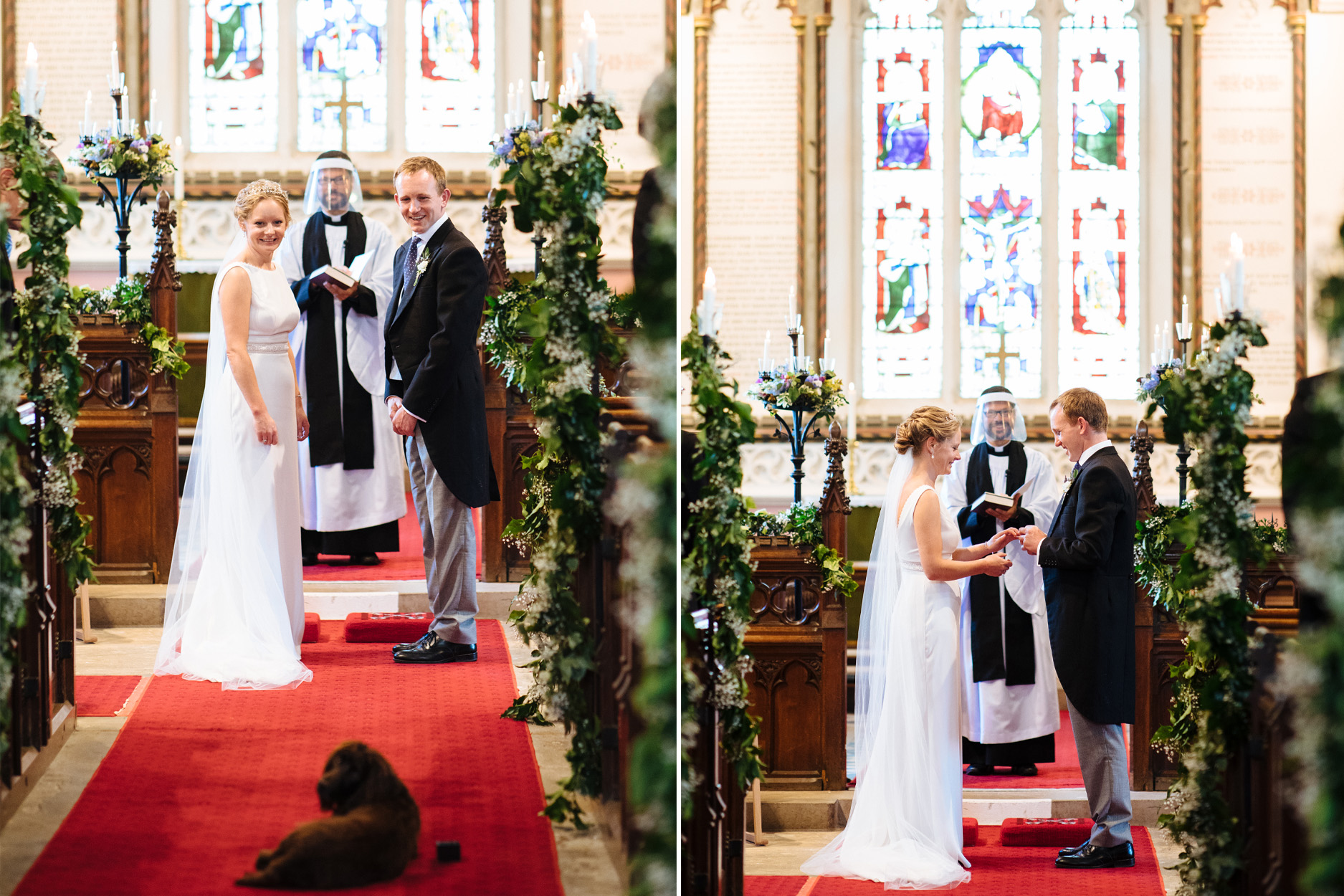 bride and groom exchanging vows in the church with dog as ring bearer
